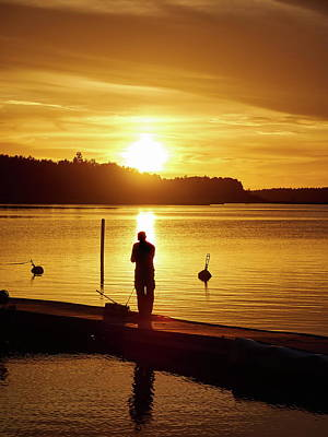 Photograph - Fishing. Sunset At Raumanmeri by Jouko Lehto