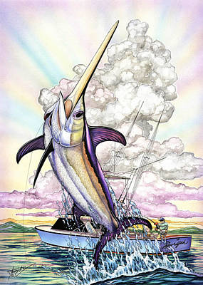 Swordfish Painting - Fishing Swordfish by Terry  Fox