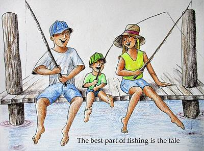 Drawing - Fishing Tale by Larry Whitler