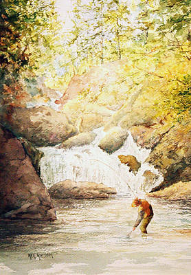 Pike River Painting - Fishing The Falls by Ken Marsden