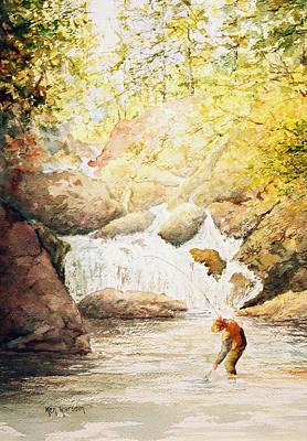 Fishing The Falls Art Print