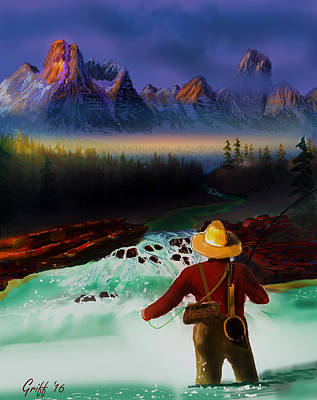 Digital Art - Fishing The High Country by J Griff Griffin