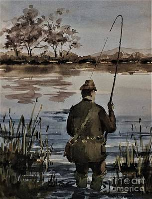 Ballina Painting - F 805 Fishing The Moy, Mayo by Val Byrne