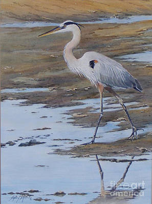 Fishing The Mud Flats...sold  Art Print