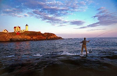 Fishing The Nubble Art Print by Skip Willits