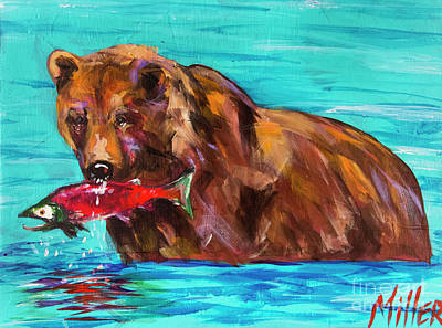 Salmon Painting - Fishing by Tracy Miller