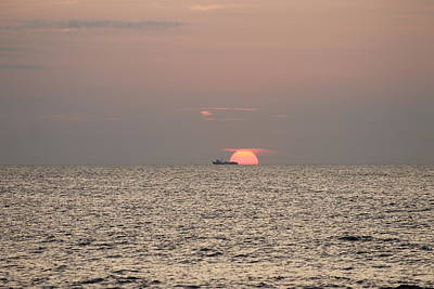 Photograph - Fishing Trawler Sunrise by Robert Banach