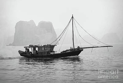 Photograph - Fishing Trolley Ha Long Bay Vietnam Bw by Chuck Kuhn