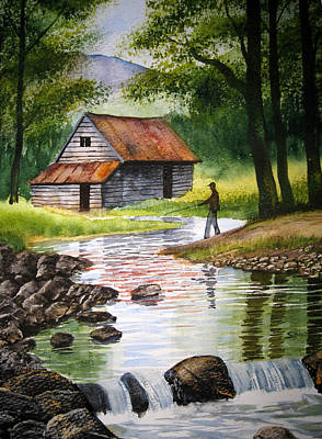 Fishing Upstream Art Print