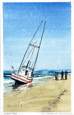 Aground Painting - Fishing Vessel Madelyn Aground by Richard Eaves Woods