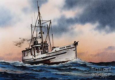 Fishing Vessel Silver Wave Art Print by James Williamson