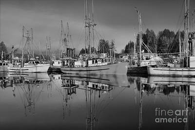 Photograph - Fishing Vessels - Black And White by Adam Jewell