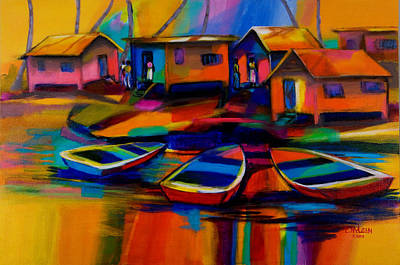 Swamp Oil Painting - Fishing Village by Cynthia McLean
