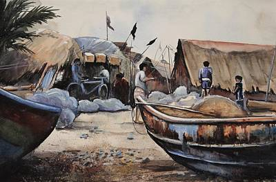 Painting - Fishing Village Of Puri by Mrutyunjaya Dash