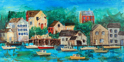 Coastal Maine Mixed Media - Fishing Village by Theresa Morse