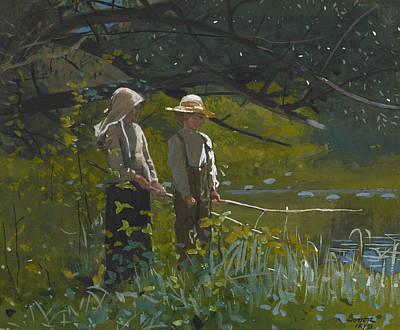 Fishing Pole Painting - Fishing by Winslow Homer