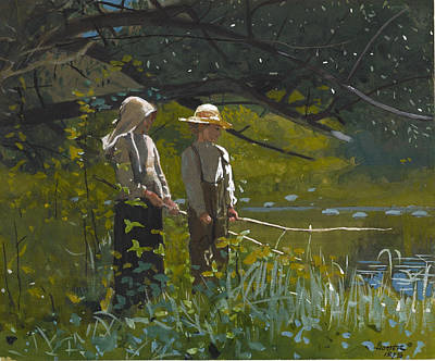 Winslow Homer Drawing - Fishing by Winslow Homer