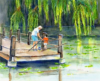Painting - Fishing With Grandpa by CarlinArt Watercolor