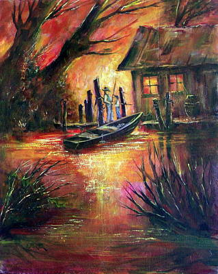 Lynn Burton Wall Art - Painting - Fishing With Grandpa by Lynn Burton