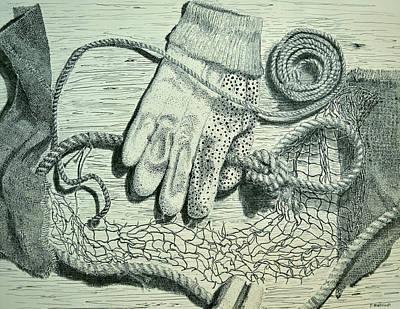 Netting Drawing - Fishing Work by Peter E Malbrough