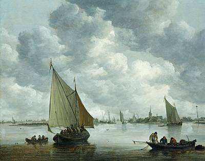 1596 Painting - Fishingboat In An Estuary by Jan Josephsz van Goyen