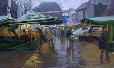 Fishmarket In The Rain Print by Joost  Doornik