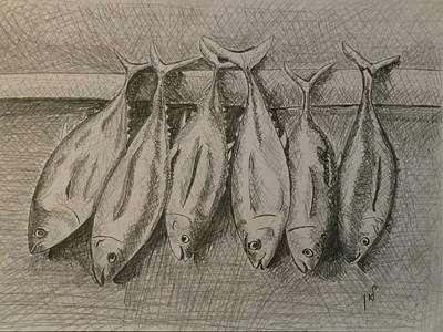 Wet On Wet Drawing - Fishmarket by Maria Woithofer