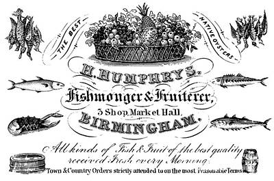 Lobster Drawing - Fishmonger And Fruiterer, Trade Card by English School