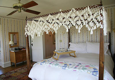 Photograph - Fishnet Canopy Four Post Bed by Amelia Painter