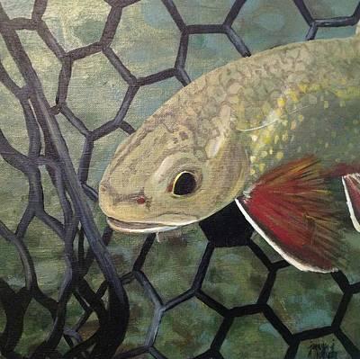Trout Painting - Fish.net by Jennifer J Folsom