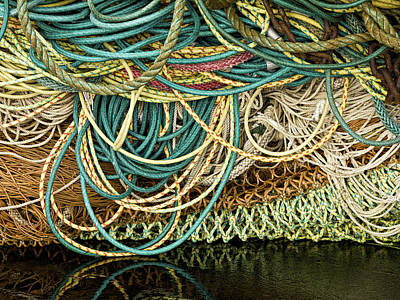 Net Photograph - Fishnets And Ropes by Carol Leigh