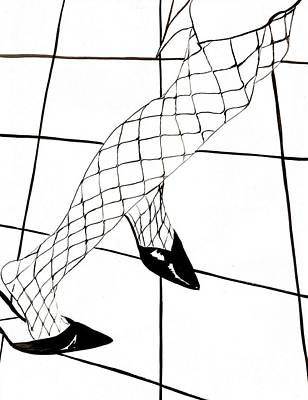 Checkered Pattern Drawing - Fishnets Dancing by Edith Ritter