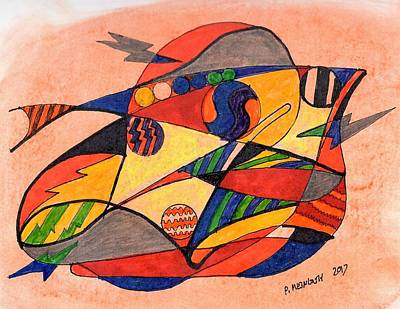 Drawing - Fishy Abstract by Paul Meinerth