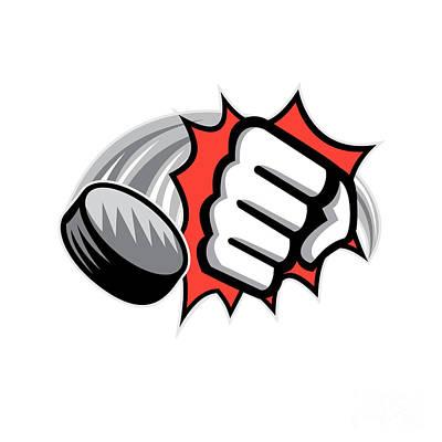Fist Breaking Wall Hockey Puck  Art Print
