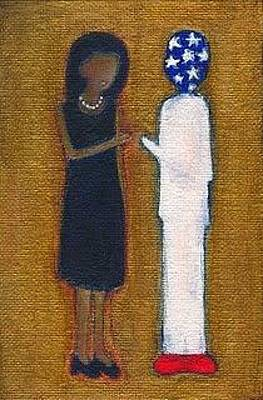 First Lady Michelle Painting - Fist Pumping First Lady He Seeing Stars by Ricky Sencion