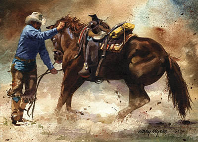 Bronc Painting - Fistful Of Trouble by Gary Myers