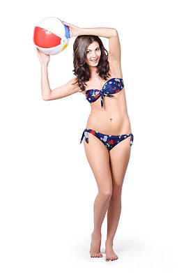 Hand Thrown Photograph - Fit And Active Girl In Bikini With Beach Ball by Jorgo Photography - Wall Art Gallery