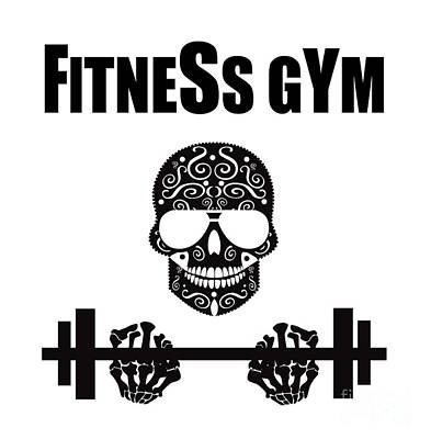Fitness Gym Logo With Skull Icon Background Black And White Original