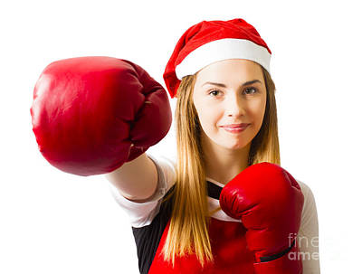 Fitness Holiday Christmas Girl. Boxing Day Art Print by Jorgo Photography - Wall Art Gallery