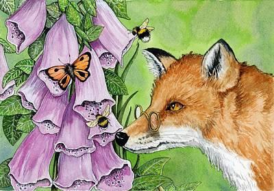 Fitzgerald Fox In The Foxgloves Original by Pamela Harden