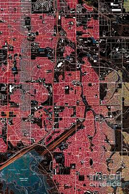 Fitzsimons Painting - Fitzsimons Colorado 1965 Red Old Map You Are Here by Pablo Franchi