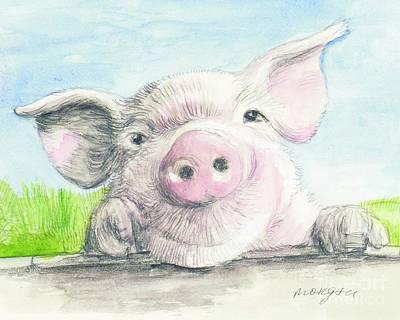 Barnyard Mixed Media - Farm Pig by Morgan Fitzsimons