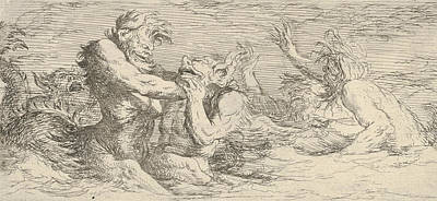 Relief - Five Battling Tritons by Salvator Rosa