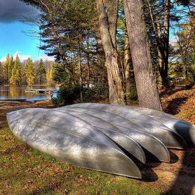 Canoe Photograph - Five Canoes At Woodcraft Camp by David Patterson