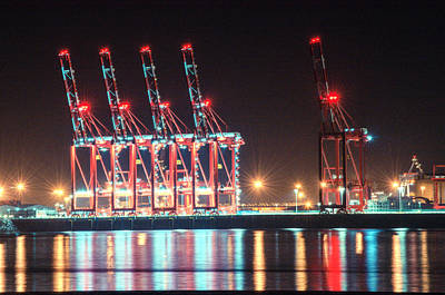 Photograph - five cranes at Port of Liverpool by Spikey Mouse Photography