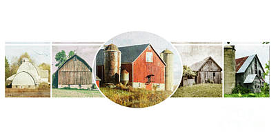 Nikki Vig Royalty-Free and Rights-Managed Images - Distressed Barn collage by Nikki Vig