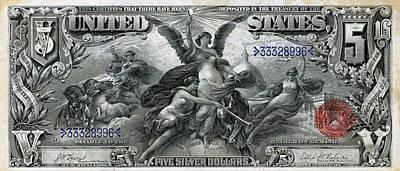 Digital Art - Five Dollar Note - 1896 Educational Series  by Serge Averbukh