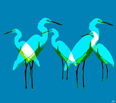 Painting - Five Egrets by David Lee Thompson