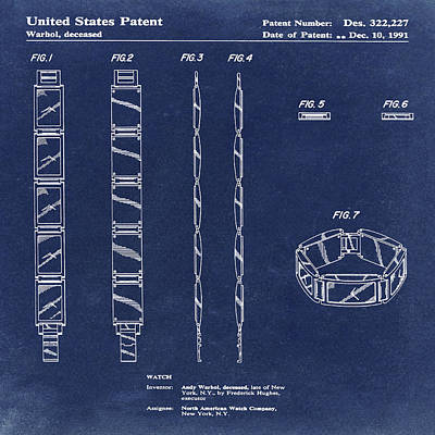 Andy Warhol Drawing - Five Face Watch Patent By Andy Warhol In Blue  by Bill Cannon