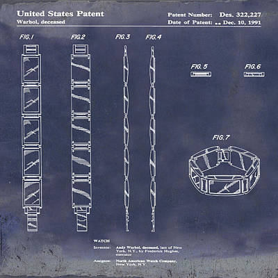 Andy Warhol Drawing - Five Face Watch Patent By Andy Warhol In Blue Grunge by Bill Cannon